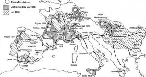 Mapa de la expansión de la plaga por Europa